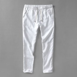 Wholesale Flax Pants Xl - Wholesale- Summer autumn white pants men linen brand trousers men flax long elastic loose pants mens 30-40 size 5 colors pantalon hombre