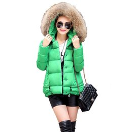 Wholesale Womens Short Red Parka - Womens Coats And Jackets Winter 2015 Bright Hooded Quilted Jacket With Fur Collar Goose Down Parka Women Jaqueta Chaquetas Mujer