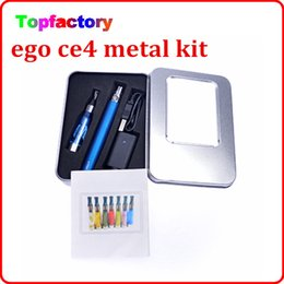 Wholesale Ego Ce4 Aluminium Box - eGo CE4 Aluminium metal Box kits electronic cigarette ce4 clearomizer 650mah 900mah 1100mah battery all kinds of colors DHL free