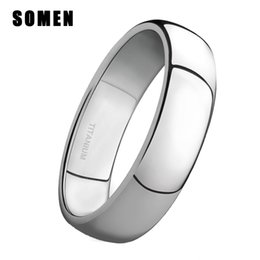 polish jewelry brands Promo Codes - ring male 4mm Brand Silver Titanium Women's Rings Male Wedding Band Polished Finish Engagement Ring Simple Female Jewelry Never fade
