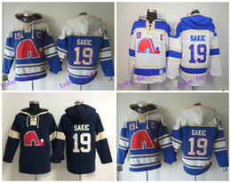 Wholesale Old Home - Quebec Nordiques Joe Sakic Hooded 19 HOme Blue White Old Time Joe Sakic Pullover Sweatshirt Hoodies Jersey Hoody Stitched Logos