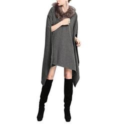 Eleganti poncho online-Cappotto in lana sintetica con collo in pelliccia sintetica per le nuove donne
