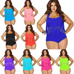 Wholesale Pad 11 - Hot Sale Plus Size Tassels Bikinis High Waist Sexy Swimsuit Women Bikini Swimwear Padded Fringe Shinny Bathing Suit 11 Colors