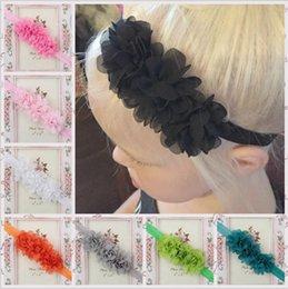 Wholesale infant hairbands - Infant Kids Headbands Mix Girls Flower Headband Children Hair Accessories Newborn 3 Flower Hairbands Baby Chiffon Headbands 16 colors KHA155