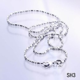 Wholesale 925 Italy Silver Necklace - 2015 Charms Solid Beads Italy Links Plated 925 Sterling Silver Necklace Chain Lobster Clasps Fashion Jewelry For Women Girls SH3-18 50PCS