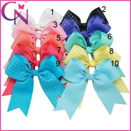 Wholesale Fixing Hair Color - Wholesale 30 pcs lot 6 inch Half Hot Fix Rhienstone Solid Grosgrain Ribbon Baby Girls Cheerleading Bows With Alligator Clip