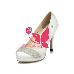Wholesale Cheap Plastic Pump - Brand New Cheap Shoes White Satin Pumps Bridal Beaded Chains Shoes Round Toe Wedding & Party Shoes WS0028W Customise Size 33 to 43