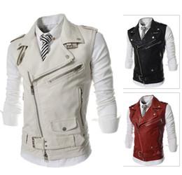 Wholesale White Pu Vest - British Style 2017 Male PU Leather Vest Men Slim Waistcoat Casual Vest Pockets Zipper Blazers Sports Jacket 3Colors M-XXL Hip pop Coat