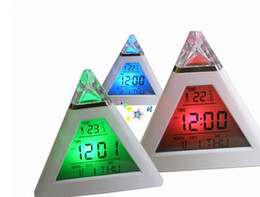 Wholesale Thermometer Dhl - 100pcs Free Shipping DHL Digital Home Travel LCD Snooze Alarm Clock Pyramid 7 Color LED Calendar C F Thermometer