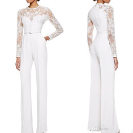 Wholesale Sheer Lace Jumpsuits - 2015 Real Image Elie Saab Mother Of The Bride Pant Suits Jumpsuit With Long Sleeves Lace Embellished Womens Formal Dresses Evening Wear