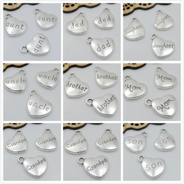 Wholesale Beads Wholesale Moon - 50pcs Silver PLATED I love You To The Moon And Back HEART SHAPE CHARMS FIT BRACELET Sister DAD SON MOM 14x18mm