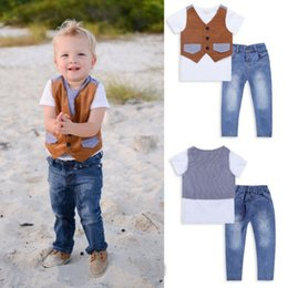 Wholesale Summer Outfit For Kids Boys - Kids Boys Clothing Sets For 2015 Summer New Arrival Fashion Gentleman Waistcoat + Tshirt + Jeans 3pcs Baby Casual Suits Outfits TR184 Retail