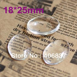 Wholesale Cabochon Transparent - 100pcs lot, Good Quality 18X25mm Dome Oval Transparent Clear Magnifying Glass Cabochon