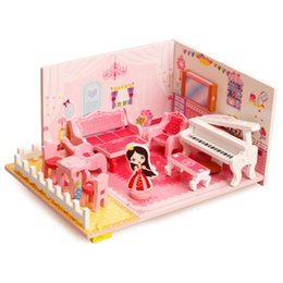 Wholesale Furniture Room Sets - Wholesale- Kids Wooden Doll House Mini 3D Music Living Room Sofa House Games Education Puzzle Toy Furniture Models DIY Accessories Set