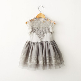 Wholesale Grey Kids Dress - 2016 Kids lace tutu Dresses For Girls Toddler Girl Dress Lace Girls Dresses Toddler Girl's Clothing Kids Clothes Grey Baby Dress