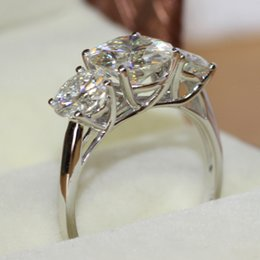 Wholesale Tcw Brilliant - FG LUXRUY Real Platinum CHARLES&COLVARD Brand 4.3 s tcw Round Brilliant Cut 3 Stone Moissanite Ring Test Positve