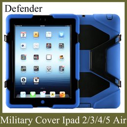 Wholesale Tablet Screen Protectors Wholesale - apple tablet PC cover for ipad2 3 4 5 ipad air with screen protector military stand case shockproof defender colorful freeshiping PCC001