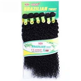 "Wholesale Cheap Synthetic Hair Weave - 6pcs pack Curly Wave Human Hair Extensions Bundles Mixed With Synthetic Hair 16"" 16"" 18"" 18"" 20"" 20"" Cheap Black Women's Crochet Hair Weave"