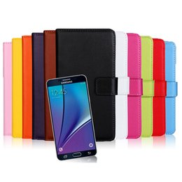 Wholesale Galaxy Note Real Leather Case - Wallet Genuine Real Leather Case Flip Cover with Stand Holder Credit Card Slot for Samsung Galaxy Note 5 S6 Edge Mobile Phone Cass