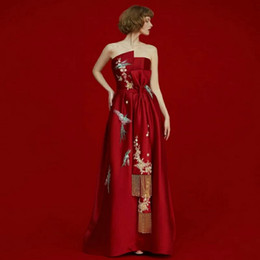 Wholesale Chinese Nudes - Strapless Chinese Red Satin Appliques A Line Bow Tassel Elegant Evening Dresses Evening Gown Custom MADE