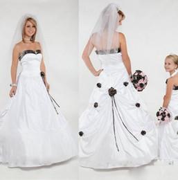 Wholesale Stylish Bridal Dresses - 2015 Camo Wedding Dresses Pick-ups Handmade Rose Flowers White Satin Ruched Wedding Gowns Ruffles Sweetheart Stylish Bridal Dress Plus Size