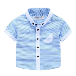 Wholesale Kids Clothes For Weddings - Handsome Baby clothing for wedding Gentle Boys dots summer short sleeve shirt boy Tops 100%cotton shirts boy Kids clothes