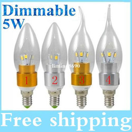 Wholesale Candle Leds Bulbs - Silver Gold Led Lights Candle Lamp 110V 220V Dimmable E12 E14 Led Bulbs Light Warm Cool White 6 Leds SMD 5730 High Power