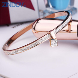 Wholesale Lobster Key Chain - 2017 New Fashion Stainless Steel Bangles Bracelet For Women Padlock Gold Rose Gold Silver Color Key Charm Famous Brand Jewelry