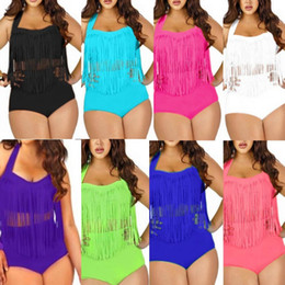 Wholesale Bandeau Womens Swimwear - PLUS SIZE Big and Beautiful Womens Retro Fringe Tassel Top High Waisted Bikini Push Up Bandeau Rockabilly Swimwear Swimsuit