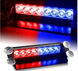 polizia chiara blu Sconti 8led Car Truck Police Strobe Flash Light Dash Emergency 3 Modalità lampeggiante Rosso / blu