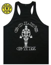 Wholesale Mens Black Vest Xxl - New 2017 Bodybuilding Vest Men GOLD'S sports Tank Top Professional GYM Fitness mens Tank Top Size M-XXL