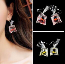 Wholesale Fish Gift Bags - Unique Acrylic Goldfish Koi Fish Water Bag Drop Dangle Earring Fashion Earrings Christmas Gift Girl Women Jewelry Accessories