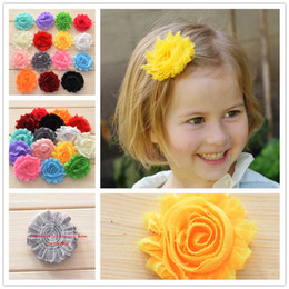 "Wholesale Shabby Lace - 100pcs 2.5"" Shabby Chiffon Flower Rosette Shabby Rose Trim Frayed Flowers baby hair accessories Single flower Fabric flower"