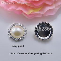 Wholesale Pearl Bead Flat Back - Wholesale-(J0006) 21mm diameter,100pcs lot, rhinestone embellishment,pearl bead,silver plating,flat back,ivory or pure white pearl