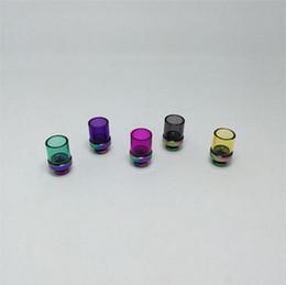 Punte di gocciolamento pyrex vetro ampio foro online-Rainbow Style 510 Drip Tips Rich Colors Pyrex Glass Bore a punta larga Drip Tip Bocchini per atomizzatore in acciaio inox per RDA CE4 e sigarette Mods