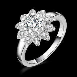 Wholesale Asian Ornament - 925 Sterling Silver Flower Cubic Zirconia crystal Engagement ring women Christmas snowflake diamond rings jewelry ornaments gifts