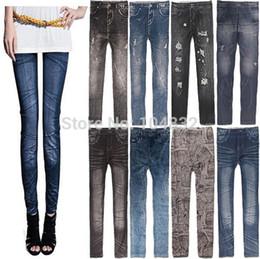 Leggings grises de punto online-East Knitting 2014 New Stylish Lady Denim Grey Like Faux Jean Pants Leggings Casual Leggings Denim Lápiz Pantalones Envío gratis