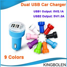 Wholesale Dual Usb Car Charger Pink - Newly Micro Auto Universal Dual USB Car Charger For all USB electric appliance 5V 2.1A 1A Mini Adapter DHL free shipping