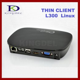 Cheap linux pc online-Venta al por mayor barato-cliente ligero Linux mini-L300 PC con doble núcleo de 1 GHz, 512 MB de RAM y Flash, Linux 2.6, vídeo HD 1080P HDMI, VGA