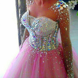 Wholesale Scalloped Sweetheart Tulle Ball Gown - Crystals Ball Gown Prom dresses with Sweetheart Beads Pink Long Sleeves Formal Evening Party Gowns Myriam Fares 2016 Real Image