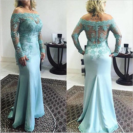 Wholesale Mother S Dress Floor Length - 2016 New Elegant Off the Shoulder Mother 's Dresses Long Sleeves Mother of the Bride Dress Satin Sweep Train Lace Appliques with Buttons