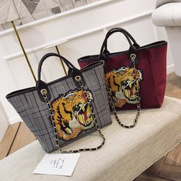 Wholesale Nylon Bag Business - women tote bag Italian luxury brand large shopping bags tiger head embroidered nylon handbags business laptop bag men shoulder bags 2017