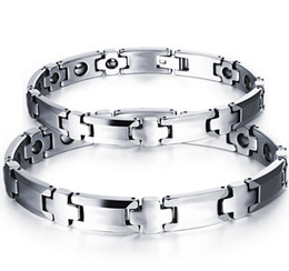 Wholesale Ceramic Magnetic Bracelets Black - Health Care Pure Tungsten Magnetic Therapy Beads Hematite Couples Links Bracelet Silver