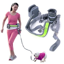 Wholesale jogging accessories - Elastic Waist Dog Leash Running Jogging Sport Dog Supplies Adjustable Nylon Dog Harness with Reflective Strip Pet Accessories JJ0579