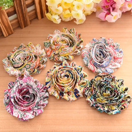 Wholesale Chiffon Sandals - Children's hair accessories components shabby chiffon flower hair flower chic printed flower for headband clips or barefoot sandals DIY