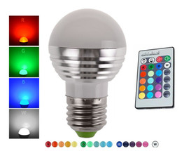 Wholesale Square Led 3w - LED 3W RGB globe bulb 16 Colors RGB bulb Aluminum 85-265V Wireless Remote Control E27 dimmable RGB Light color change led bulb