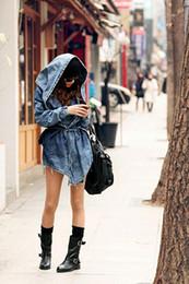 Wholesale Denim Trench Coat Jean Hoodie - Fashion Women Lady Denim Trench Coat Hoodie Hooded Outerwear Jean Jacket Cool