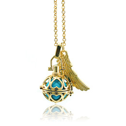 Wholesale Harmony Link - High Quality Angel Necklaces Caller Harmony Dangle Feather Copper Chime Ball Cage Pendants Necklaces For Women Jewelry