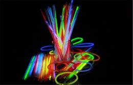 Wholesale Latex Necklace - 100pcs 7.8inch Multi Color Glow Fluorescence Light Sticks Bracelet Necklaces Light Neon Xmas Party LED Flashing Wand Novelty Toy