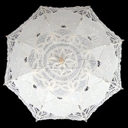 Wholesale Party Lace Parasol Umbrellas - Wholesale- Free Shipping 38cm Radius Handmade Cotton Embroidery White Wedding Lace Parasol for Bride Wedding Decor Wedding Umbrella
